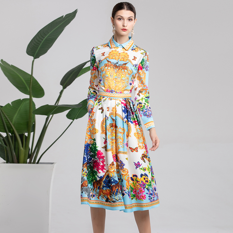 2019 Spring Pretty Print Women Sets High Quality Sweet 2 Pieces Turn-down Collar Shirts +Skirts Hot Cute Suits