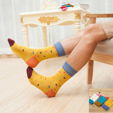 Fashion color men crew happy socks casual pattern harajuku business dress designer brand novelty funny white yellow blue Korean