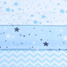 100% cotton NORDIC WIND SKY BLUE STARS chevron twill cloth DIY for kids crib bedding cushions handwork decor patchwork tissue(China)