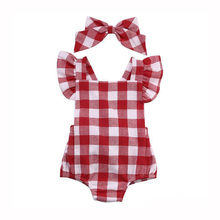 2017 Newborn Children Girls Red Plaid Sliders Overalls With Headwear Outfit Baby Girl Romper Baby Clothing DBR018