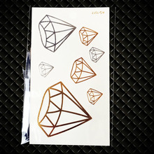 New Diamonds Designs Children Gold Flash Water Transfer Fake Tattoo Stickers GA1017 Sexy Girl Silver Crystal School Tattoo Paste