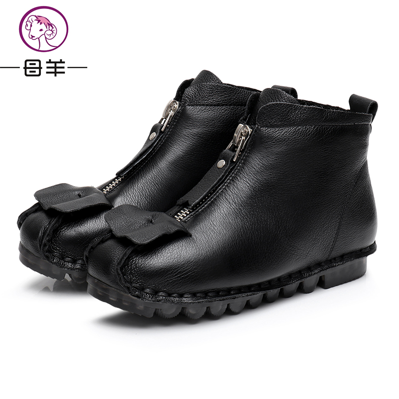 2017 Winter FashionGenuine Leather Women Boots Warm Comfortable Shoes Female Zipper Boots Black/Red Colors Cute Scroll Desig<br>