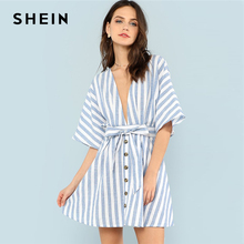 Buy SHEIN Deep V Neck Button Front Striped Dress 2018 Summer Blue Striped Half Sleeve Dress Women Batwing Sleeve Belt Halter Dress for $15.60 in AliExpress store