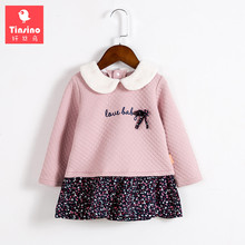 Tinsino Baby Girls Autumn Sweatshirt Floral Dress Toddler Girl Spring Tops Infant Ruched Ruffles Flowers Dresses Kids Clothing