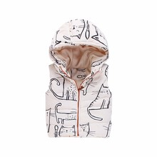 2017 winter children vest graffiti cat boys girls vest with hooded warm thick kids waistcoat with fleece children clothes(China)
