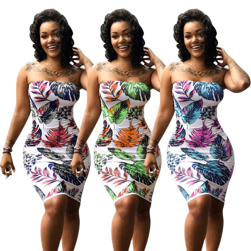 Adogirl Leaves Print Strapless Plus Size Summer Dresses Women Sexy Bodycon Mini Night Club Dress High Quality Cheap Vestidos 6