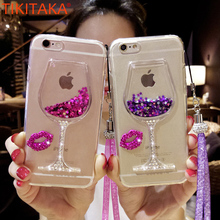 Bling Liquid Quicksand Transparent Wine Glass Cell Phone Case For iPhone 6S 6 7 Plus Red Wineglass Mobile Covers With Lanyard(China)