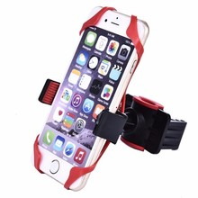 Bike Bicycle Motorcycle Handlebar Mount Holder Mobile Cell Phone Holder GPS Navigator Holder with Silicone Bracket Stand(China)