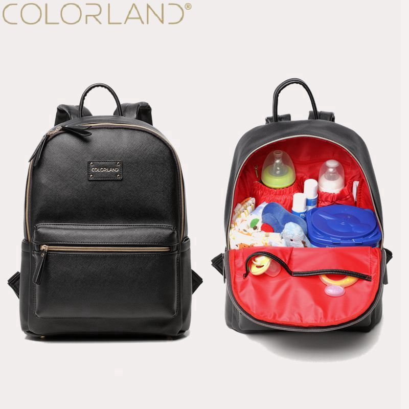 Colorland PU Leather Baby Bag Organizer Tote Diaper Bags Mom Backpack Mother Maternity Bags Diaper Backpack Large Nappy Bag <br>