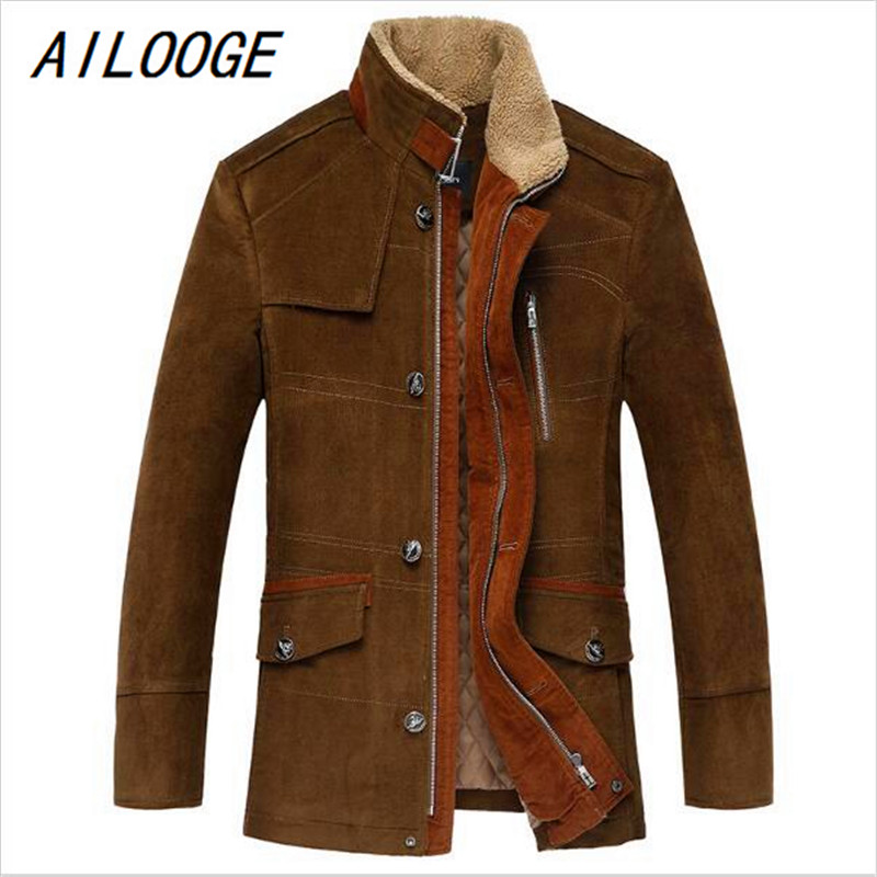 AILOOGE 2017 New Arrival Warm Winter Coat Men's Thickened Casual Hooded Jacket Fashion Slim Cotton Jacket HZ583