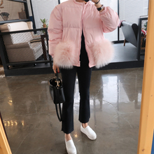 2017 Pink Beige super big natural fur pockets White Duck Down Coat Plus Size Winter Jacket Womens Down Jackets Parka Down Coats
