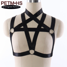 Buy Womens Sexy fashion Pentagram Harness bra adjustable Elastic Black Strappy Tops Bustier Bondage Goth Fetish Exotic Burlesque bra
