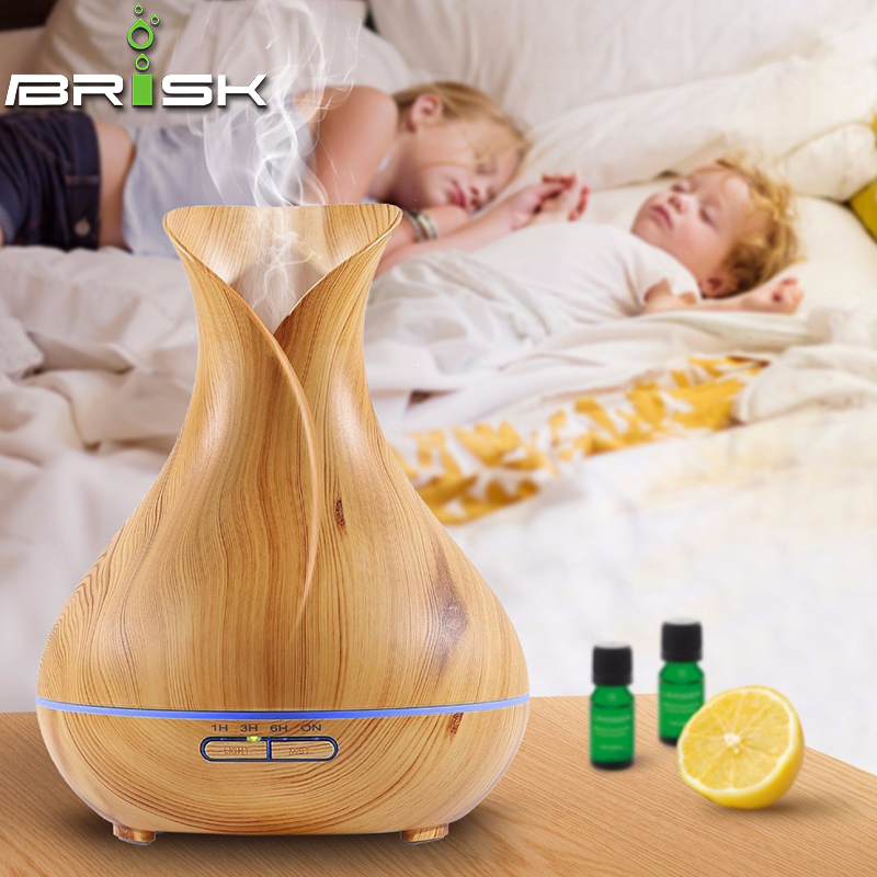 Wood aroma diffuser ultrasonic humidifier essential oil diffuser ultrasonic cool mist humidifier with Color LED Lights Changing <br>