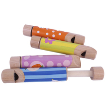 Cartoon Wooden Slide Whistles Child Baby Kids Musical Instrument Toy - Pattern Random