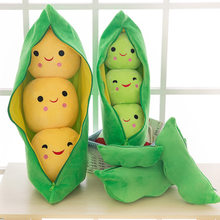 5Sizes Pillows Cute Pods Pea Shape Stuffed Plant Doll 3 Beans With Cloth Case Creative Soft Hold Pillow Travel Pregnant Home Toy(China)