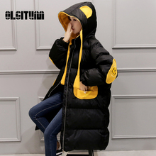 OLGITUM 2018 Winter Coat Women Parka Fashion Ladies Coats Bear Long Thick Warm Down Cotton Women Jackets Black&White Coats CC041(China)