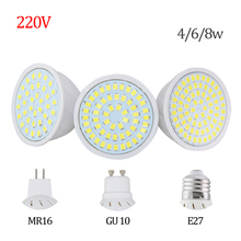 Factory Price LED Spotlight GU10 E27 MR16 Led Lamp 8W 4W 6W AC 220V 3528SMD 36Leds 54Leds 72Leds White/Warm White LED Lighting(China)