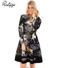 Ruiyige 2017 Winter Women Christmas Sexy Floral Print Full Sleeve O-Neck Hollow Out Mesh Patchwork Dress Xmas Santa Party Robes