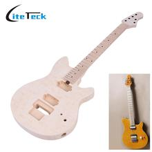 High Quality Unfinished DIY Electric Guitar Kit Basswood Body Fingerboard Maple Neck String Instruments