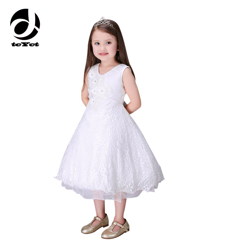High Quality White Gown Bridesmaid Child Baby Girls Wedding Dress Maxi Dresses For Kids Clothes For Girls Age 3-5 6 7 8 9<br>
