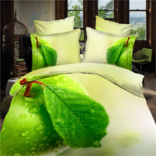 2016 New Apple Green 3D Leaf print Bedding Sets Cotton Fabric Duvet Cover Pillowcase Bed Sheets Bedroom Set for Queen Size Bed