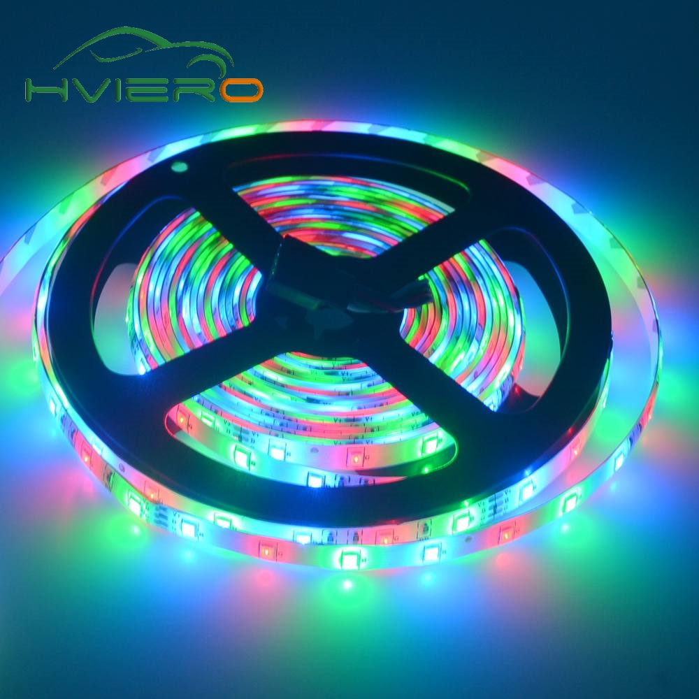 Hviero 5m 2835 3528 Rgb Led Strip Waterproof Light DC 12V 300Leds Flexible Lighting String Home Decoration Lamp Ribbon Tape Desk Lamp