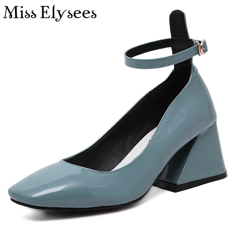 2017 Square Toe Mary Janes Women Pumps Shoes Patent Leather Thick Heel With Buckle Hihg Heels For Women Spring Fashion Pumps<br><br>Aliexpress