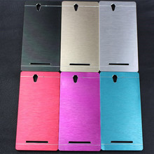 Mobile Phone Cases Aluminum Brush Hard Metal Case for Sony Xperia C3 D2533 D2502 S55T Case Cover Protective Mobile Phone Cases(China)