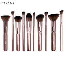 Docolor makeup brushes 10pcs +1pcs make up brush cleaner coffee color professional make up brush set beauty essential free ship(China)
