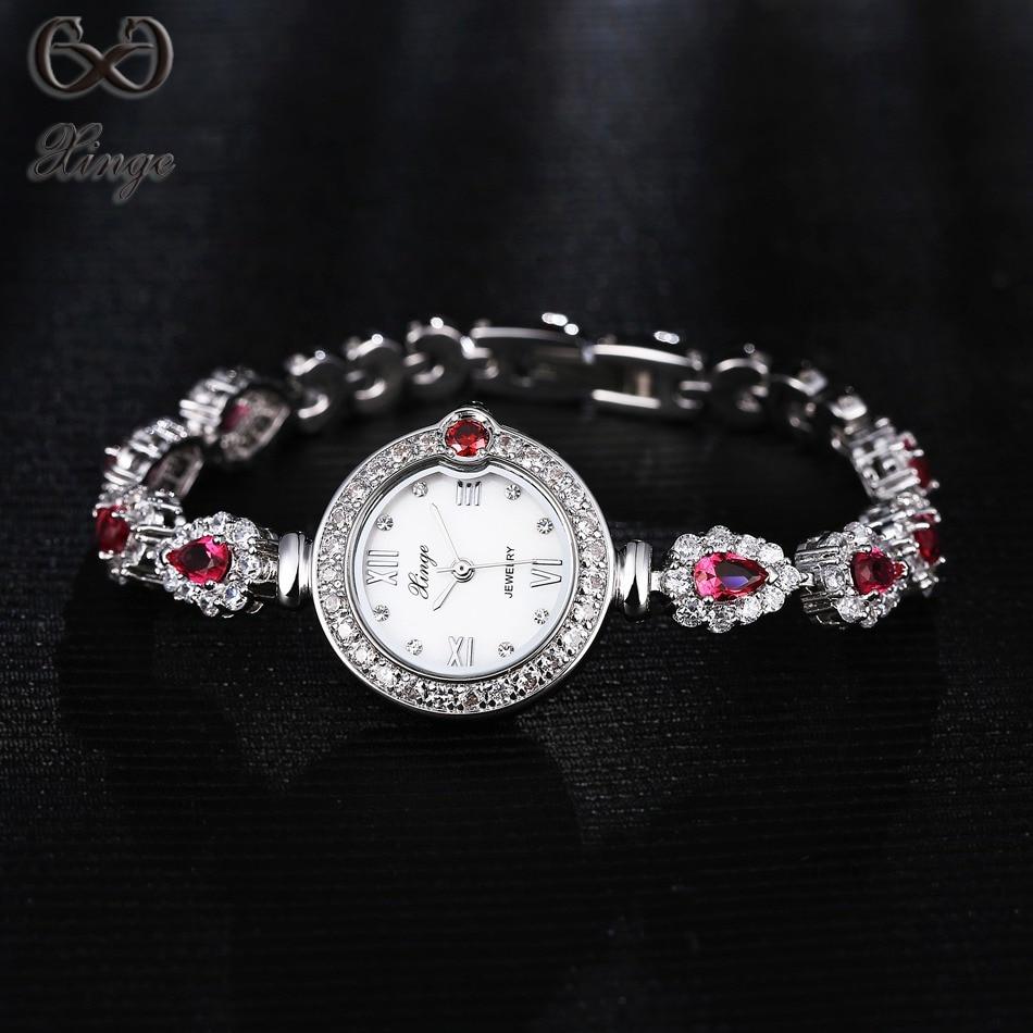 Xinge Brand 2017 High Quality Women Watches Crystal Zircon Luxury Fashion Ladies Gold Bracelet Quartz-Watch Simple Female Clock<br>
