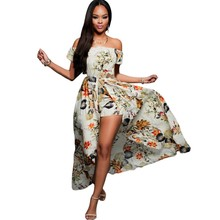 Women sexy dresses new style summer dress beach wear boho clothes beige multi-color floral romper maxi dress patterns M640760