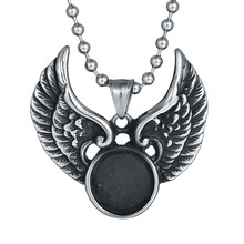 New Arrival Trendy Casting Jewelry 316L Stainless Steel Chain Necklace Angle Wings Pendant With Balls Chain For Men