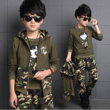 Spring big boys camouflage clothing set 3pcs for children 100%cotton glasses green big kids Hooded Jacket T-shirt pant clothes 6