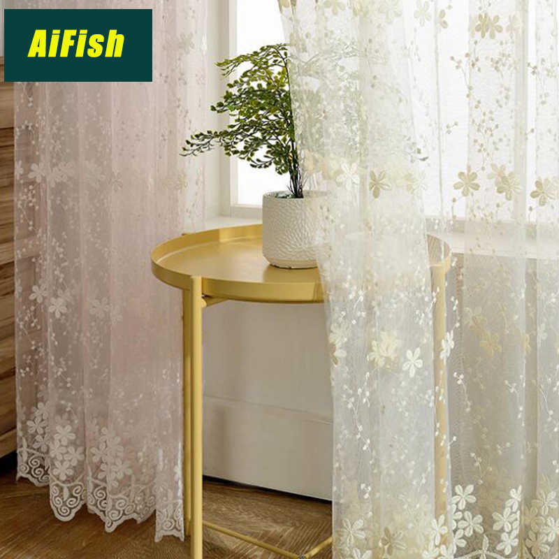 Modern Embroidered Jacquard Milk tulle Curtains Garden Flower Curtains for Windows Bedroom Beauty Salon home decoration WP058#30