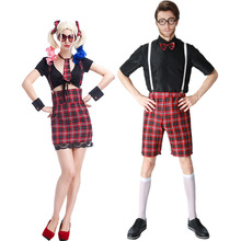 Girl Boy Couple School Uniform Class Service Sailor Suits Sexy Girls Halloween Party Cosplay Costume England Dress