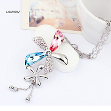natural Long 925 Sterling silver necklace Plants flowers Austria crystal orchid tassel sweater chain explosion manufacturers(China)