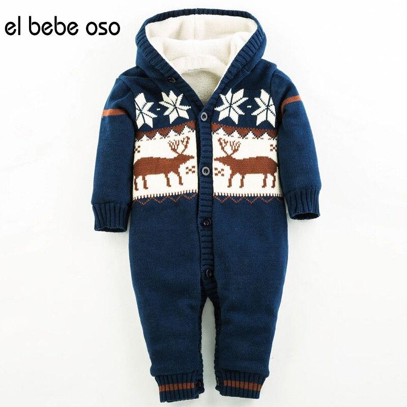 el bebe oso NEW Autumn/Winter Thick Climbing Clothes Newborn Boys Girls Warm Romper Knitted Christmas Deer Hooded Outwear XL02<br><br>Aliexpress