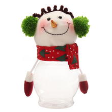 1pc Gift Candy Jar Plastic Snowman Christmas Transparent Plastic Candy Candy Cans Candy Cans Event Party Supplies(China)