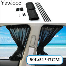 Yawlooc 2 x Update 50L 51*47cm Car Styling Adjustable Vehicles Elastic Auto Car Side Window Sunshade Curtain - Black/Beige/Gray(China)
