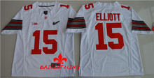 Free Shipping Nike 2017 Ohio State Buckeyes Ezekiel Elliott 15 Diamond Quest College Footballly Boxing Jersey - White(China)
