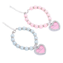 New Heart-shaped Pet Collars Rhinestone Identity Card Heart Pendant Pearl Necklace Pet Jewelry Mini Photo Frame
