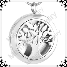 MJP0008 Wholesale Cheap Tree Stainless Steel Essential Oil Diffuser Perfume Aromatherapy Locket Necklace