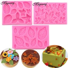 Maple Rose Leaf Cake Border Silicone Molds Christmas Cupcake Fondant Cake Decorating Tools Gumpaste Chocolate Candy Clay Moulds(China)