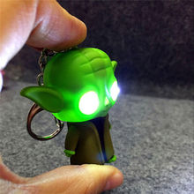 2016 New Arrival kids toys LED Star War Lightsaber Grandmaster Yoda Jedi Action Figure oyuncak With Sound Keychain Wholesale