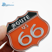 Airspeed America US the ROUTE 66 Road Emblem Badge 3D Metal Stickers Car Body Computer Ipad Wall Cabinet Stickers Car-styling