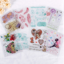 1Pc Clear Colorful Stamp Scrapbook DIY Photo Cards Rubber Stamp Seal Silicone Transparent Stamp#230675