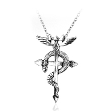 Silver Fullmetal Alchemist Edward Elric Snake Cross Pendant Necklace(China)