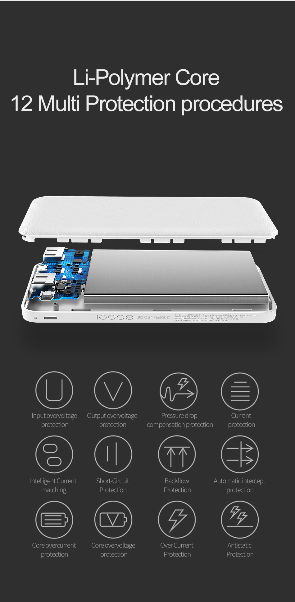 ROCK Slim 10000 mAh Power Bank,Portable Ultra-thin Polymer Powerbank battery power-bank 10000mah With LED Light for Mobile Phone 15