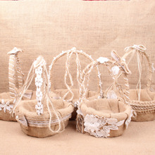 Europe and The United States Wedding Decoration Flower Basket Linen Basket Wedding Suite DIY Linen Flower Girl's Flower Basket