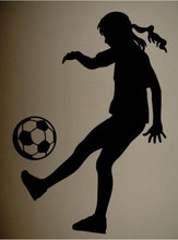 CaCar Sports Wall Decal Art Sticker Quote Vinyl Soccer Girl Silhouette Sports Decor Wall Decal Art(China)